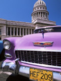 Classic American Car Outside the Capitolio  Havana  Cuba  West Indies  Central America