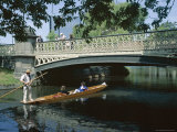 Punt on River Avon Going Under Bridge  Christchurch  Canterbury  South Island  New Zealand