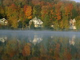 Large Houses Beside Lake Flower at Saranac Lake Town in Early Morning  New York State  USA