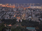 City at Dusk  with Bahai Shrine in Foreground  from Mount Carmel  Haifa  Israel  Middle East