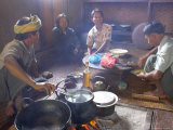 Family Cooking in Kitchen at Home  Village of Pattap Poap Near Inle Lake  Shan State  Myanmar