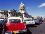 Street Scene of Taxis Parked Near the Capitolio Building in Central Havana  Cuba  West Indies
