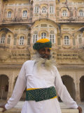 Elderly Museum Guard in White Uniform with Yellow and Green Turban  Meherangarh Fort