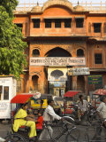 Ochre Facade of Old Building  Sireh Deori Bazaar  Old City  Jaipur  Rajasthan State  India