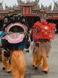 Dragon Dance Performers  Sunday Morning Festival Celebrations  Shengmu Temple  Luerhmen