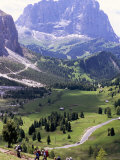 Hikers on Alta Via Dolomiti Trail and Gardena Pass Below and Sassolungo Range 3181M  Alto Adige