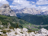 Valley East of Gardena Pass with Villages of Colfosco and Corvara  Dolomites  Alto Adige  Italy