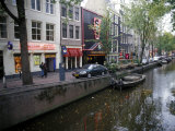 Red Light District Along One of the City Canals  Amsterdam  the Netherlands (Holland)