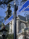 Close-Up of Direction Sign for Major Sights Along Canal  Amsterdam  the Netherlands (Holland)