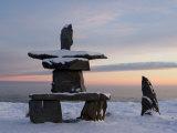 Inukshuk  Inuit Stone Landmark  Churchill  Hudson Bay  Manitoba  Canada