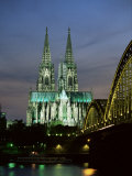Cologne Cathedral  and Hohenzollern Bridge at Night  North Rhine Westphalia