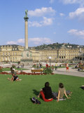Schlossplatz, King Wilhelm Jubilee Column, Neues Schloss, Stuttgart, Baden Wurttemberg, Germany Papier Photo par Yadid Levy