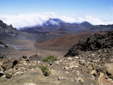 Cinder Cone and Iron-Rich Lava Weathered to Brown Oxide in the Crater of Haleakala