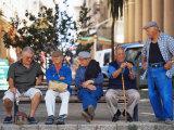 Elderly Men  Ile Rousse  Corsica  France