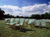 Deckchairs in Regents Park  London  England  United Kingdom
