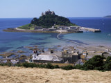 Submerged Causeway at High Tide  Seen Over Rooftops of Marazion  St Michael's Mount  England