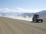 Land Cruiser on Altiplano Track and Tourists Going to Laguna Colorado  Southwest Highlands  Bolivia