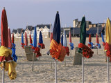 Beach and Rolled up Umbrellas  Deauville  Basse Normandie (Normandy)  France
