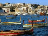 Boats in Valetta Harbour  Malta  Mediterranean