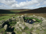 Hut Foundations  Grimspound Enclosure  Dartmoor  Devon  England  United Kingdom