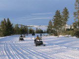 Snowmobiling in the Western Area of Yellowstone National Park  Montana  USA