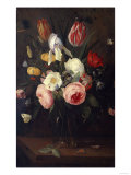 Roses  Tulips and Other Flowers in a Glass Vase  with Insects  on a Table