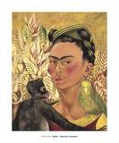 Self-Portrait with Monkey and Parrot, c.1942 Reproduction d'art par Frida Kahlo