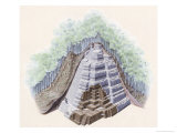 Cut Away of a Maya Ziggurat Covered by Soil and Trees