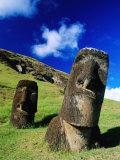 Moai on Side of Volcano  Easter Island  Valparaiso  Chile