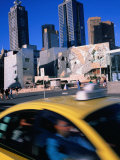 Taxi Driving Past Federation Square  Melbourne  Victoria  Australia