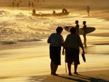 People on Bondi Beach at Sunset  Sydney  New South Wales  Australia