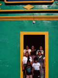 Painted House with Children Posing in the Doorway  Momostenango  Totonicapan  Guatemala