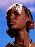 Maasai Girl with White Beads Indicating She Has Been Circumcised  Longido  Arusha  Tanzania