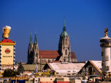 Beer Tents at Oktoberfest with Cathedral in the Background  Munich  Bavaria  Germany