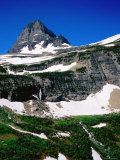 Mid-Summer Snow on Mountain  Glacier National Park  Montana