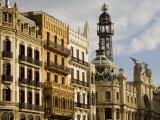 Modernista Facades along Plaza del Ayuntamiento  Central  Valencia  Spain