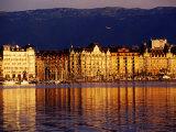Quai du Mont-Blanc  Sunrise on Lake Geneva  Geneva  Switzerland