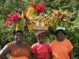 Grenadian Women Carrying Fruit on Their Heads near Annandale Falls  St George  Grenada