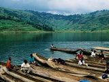 Villagers in Dugout Canoes at Market  Lake Bunyonyi  Kabale  Uganda