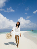 Young Woman Walking on Kuramathi Sandbank  Rashdoo Atoll  Alifu  Maldives