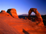 Delicate Arch and Surrounding Slick-Rock with La Sal Mountains in Distance  Utah