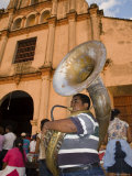 Tuba Player in Front of Iglesia San Juan Bautista de Subtiava During Semana Santa  Leon  Nicaragua