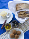 Typical Portuguese Meal Condiments: Bread  Olives  Cheese  Oil  and Nibbles  Lisbon  Portugal