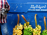 Watch Seller and Bunches of Bananas Outside Vegetable Market  Male  Kaafu  Maldives