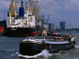 Ships in Rotterdam Harbour  Rotterdam  South Holland  Netherlands
