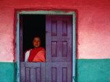 Young Maya Woman in Doorway of Home Zinacantan  Chiapas  Mexico