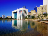 Skyline and City Hall Plaza Pool  Dallas  Texas
