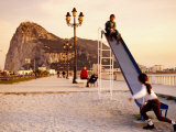 Playground at Bay of Algeciras with Rock of Gibraltar in Background  Andalucia  Spain