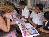 German Volunteer Helping Children with School Work  el Pochote  Near Granada  Granada  Nicaragua