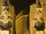 Ruins Floodlit at Night  Luxor  Egypt